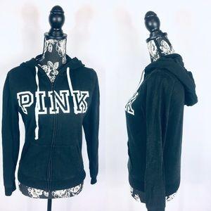 VS Pink black logo full zip hoodie